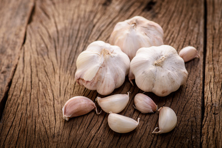 garlic on wood background