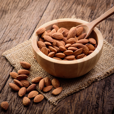 close up some almonds in bowl