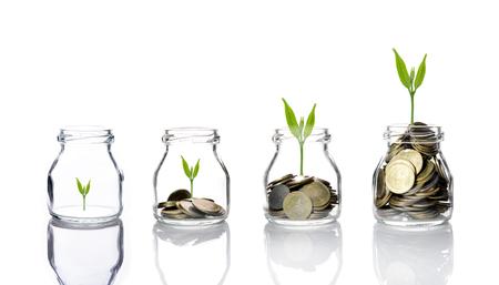 Mélanger les pièces avec des semences en bouteille transparente sur fond blanc, le concept de croissance de l'investissement des entreprises, concept d'économie