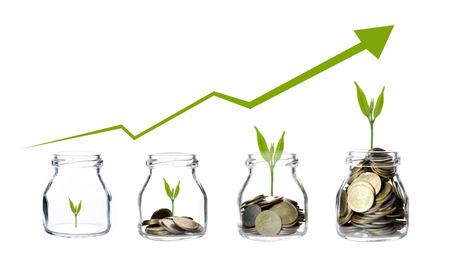 Mélanger les pièces avec des semences en bouteille transparente sur fond blanc, le concept de croissance de l'investissement des entreprises, concept d'économie Banque d'images - 50208325