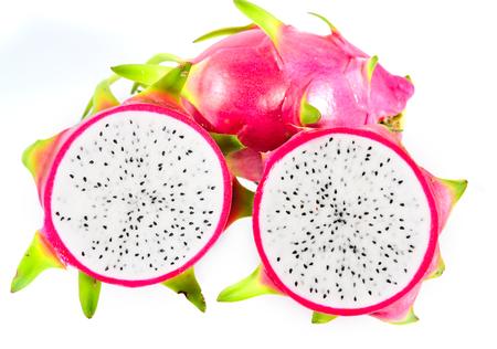 brit: Dragon fruit on white background, Hylocercus undatus (Haw) Brit. & Rose. Stock Photo