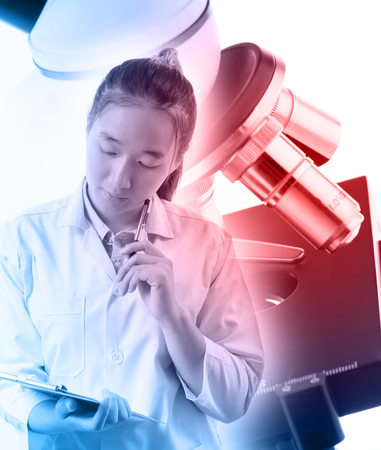 to think about: Women scientists think about research Stock Photo