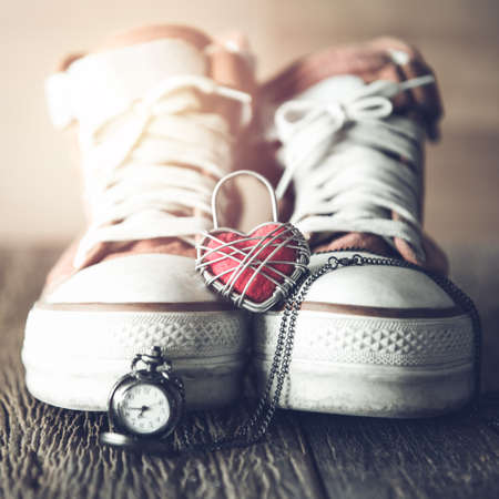 swain: Red shoes with Lovely Heart.Love time concept,valentine background