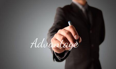 business man writing Advantage Stock Photo