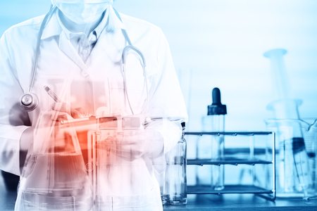 research science: Double exposure of scientist or doctor with equipment and science experiments background , science research,science background