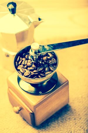 seed pots: coffee beans in  coffee Grinders and moka pot vintage tone style