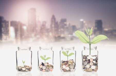 coins and seed in clear bottle on cityscape photo blurred cityscape background,Business investment growth concept