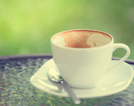 empty cappuccino coffee cup Stock Photo