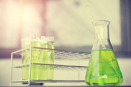 green tone: Test tubes in green tone. Stock Photo