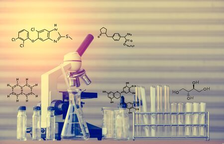 science scientific: Scientific equipment with chemical formula for science background Stock Photo
