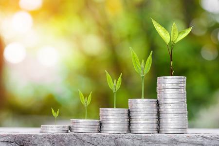 Nahaufnahme von Goldmünzen stapeln mit grünen Bokeh Hintergrund, Business Finance und Geld Konzept, sparen Geld für die Vorbereitung in die Zukunft.