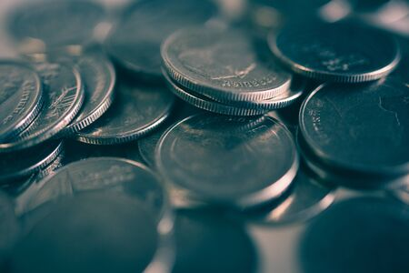 rows of coins for finance and business concept