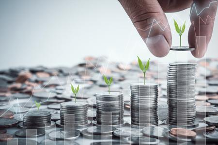 Mão masculina que põe moedas com dinheiro crescente da economia do crescimento da etapa da pilha do dinheiro. Investimento empresarial do financiamento do conceito. Árvore que cresce na moeda Foto de archivo