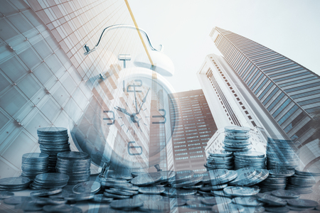 Double exposure of city and rows of coins for finance and banking concept,Business Finance and Money concept,Save money for prepare in the future.