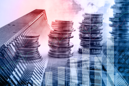 Double exposure rows of coins with common Modern business skyscrapers. for finance and business,Saving money and account finance bank business concept.