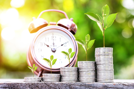 Close up of stacking coins and tree growing on coins with green bokeh background ,Business Finance and Money concept,Save and investment money for prepare in the future