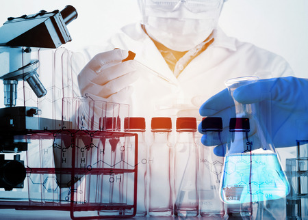 Scientists and scientific equipment In the laboratory,Laboratory research concept,science background Stock Photo