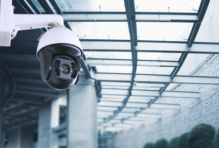 Security, CCTV camera in the office building Archivio Fotografico