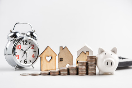 Mortgage loaning real estate property with loan money bank concept