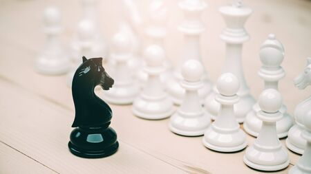 black and white chess battle,Chess victory,chess concept. strategy, management or leadership concept. Imagens