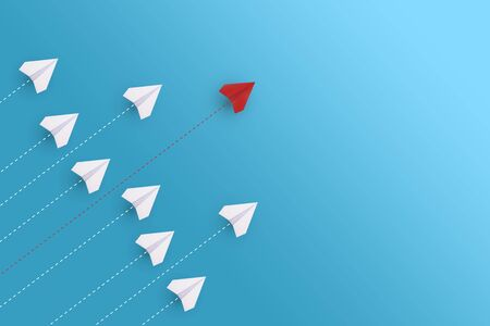 Creative paper planes on blue background. Leadership and success concept. Imagens