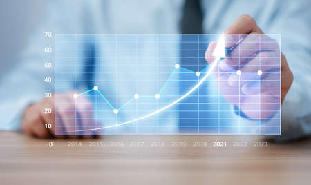 Business analytics and financial concept, Plans to increase business growth and an increase in the indicators of positive growth in 2021