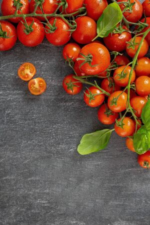 Assortment of ripe organic farm red tomatoes on a dark background, on a black slate stand. Food, harvesting, summer concept. Top view. Copy space.