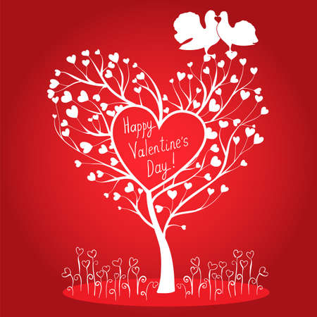Greating card with tree of hearts and doves Vector