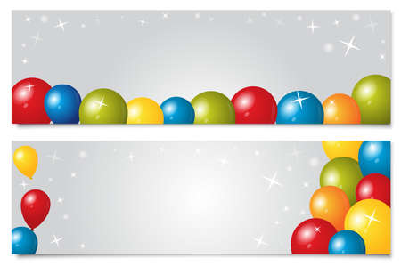 Set of two banners with balloons and stars