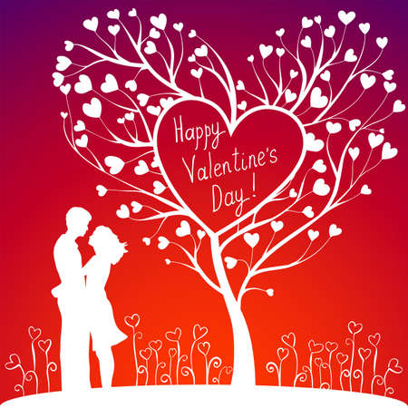 Hugging Couple With Valentines tree and flowers Stock Illustratie
