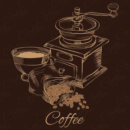 Eleganter Hintergrund mit Cofee Mühle, Tasse Kaffee und Bohnen