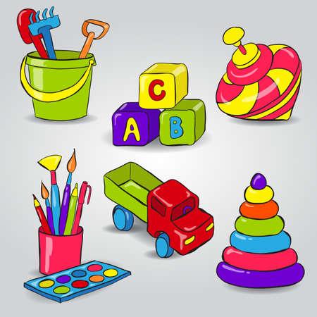 yellow adventure: Set with whirligig, childrens blocks, bucket and shovel, paint, car, pyramidÂŒ