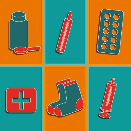 Conjunto de seis iconos de la medicina con las píldoras y jeringa Foto de archivo - 26374046