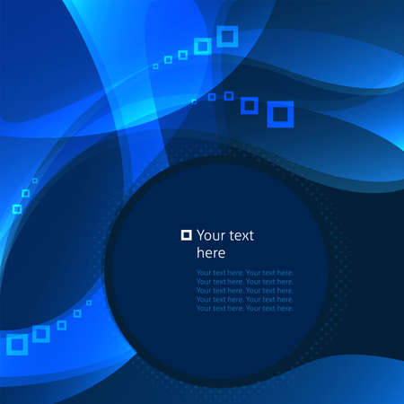 Abstract blue background, business template, wave and squareΠVector