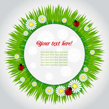 Spring frame background with grass, camomile and ladybugsŒ 向量圖像