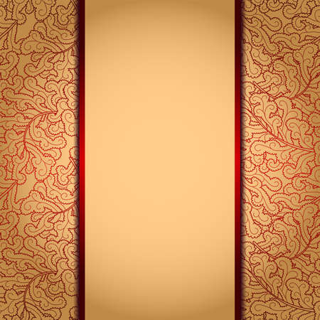 Elegant gold background with lace burgundy ornamentΠIllustration