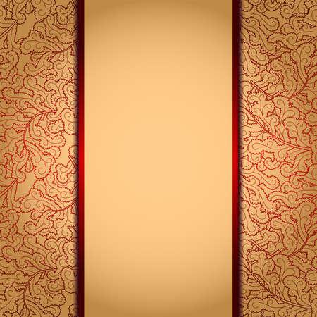 burgundy background: Elegant gold background with lace burgundy ornamentΠIllustration