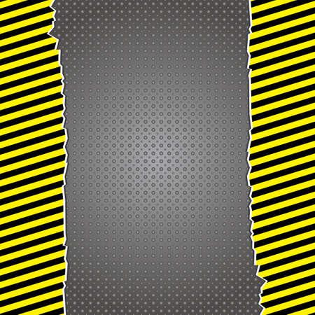 Metallic danger background with yellow  warning stripesΠVector