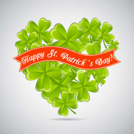 Greeting card for patricks day with heart of clovers and ribbonΠVector