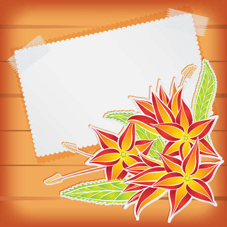 scotch: Greeting card with paper scotch tape and flowers Illustration