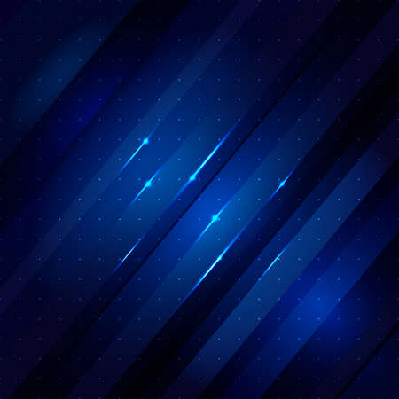 Blue abstract lines business background with lights Vector