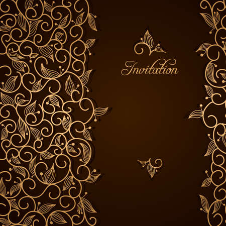 Invitation with gold lace floral ornament on brown background Vector