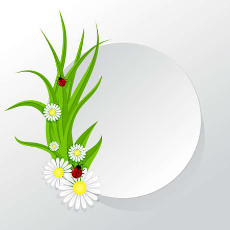 Circle frame with grass and chamomiles ladybugs Vector
