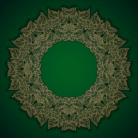 Green luxury vintage pattern with gold leaves frame Vector