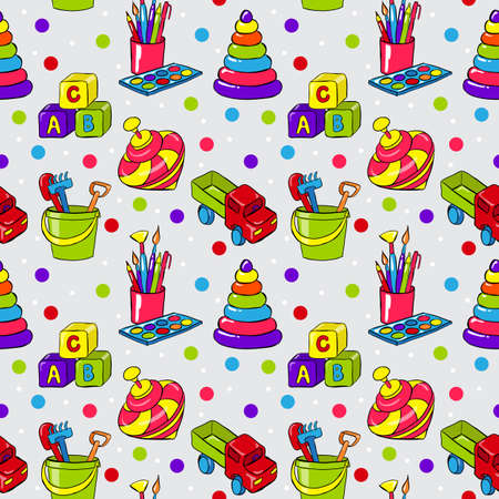 Seamless pattern with colorful childrens toys for playing Vector