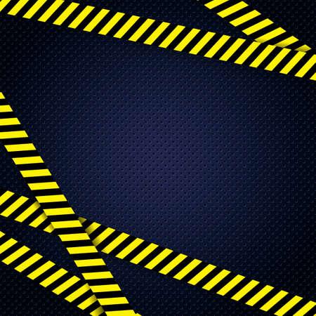 Danger yellow tape grunge metal blue  background Vector