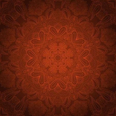 pastel tone: Pastel brown round ornate lace ornament Œ