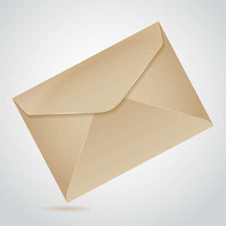 old envelope: inclined envelope of old brown paper letter Illustration