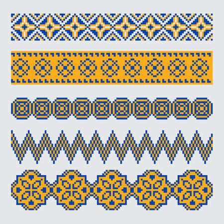 Set of pixel orange and blue ethnic seamless border ornament Vector