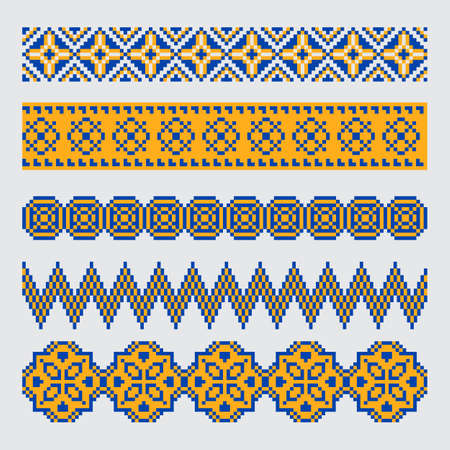 Set of pixel orange and blue ethnic seamless border ornament